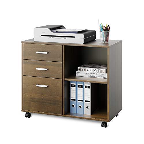 DEVAISE Mobiler Büro-Aktenschrank Büro-Rollcontainer Drucker Ständer Schrank mit 3 Schubladen und Regal für Schreibtisch,Holz,Hellbraun