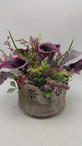 Seidenblumengesteck Herbstgesteck Kunstblumen Calla Beeren Gräser Laub lila