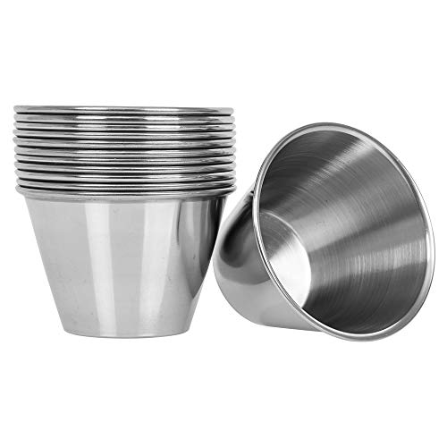 (12 Pack) Stainless Steel Sauce Cups 4 oz, Commercial Grade Dipping Sauce Cups, Individual Condiment Cups/Portion Cups/Ramekins by Tezzorio