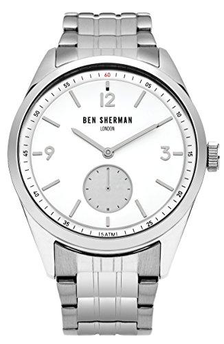 Ben Sherman Hombres Reloj De Cuarzo con Esfera Analógica Blanca y Plateado Correa de Acero Inoxidable wb052sm