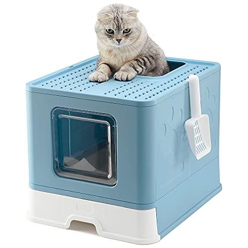 Vealind Lettiera per Gatti, 51 x 41 x 38 cm Grande Toilette per Gatti Chiusa con Design Pieghevole, Vassoio Estraibile e Paletta (Speciale Blu)