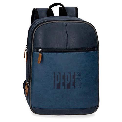 Pepe Jeans Max Mochila Adaptable para Portátil 13,3' Azul 27x36x12 cms Piel Sintética...
