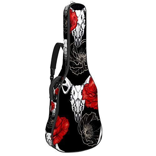 Funda para guitarra acústica eléctrica acústica con diseño de calavera y amapolas...