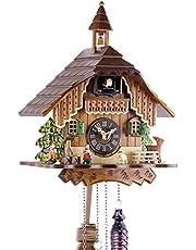 Uhren-Park Eble Engstler 429 Q - Reloj de cuco de madera auténtica con mecanismo de cuarzo a pilas y carillón de cuco (29 cm)