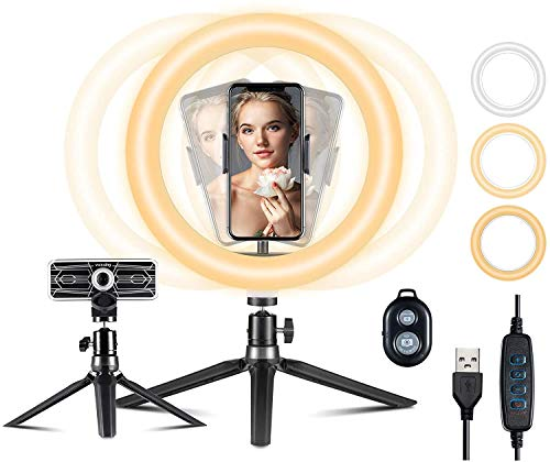 "Aro de luz VicTsing, Anillo de Luz Trípode LED 10"", 3 Modos Luz + 10 Niveles Brillo Regulables Wireless Control Remoto, para Movil TIK Tok, Maquillaje, Selfie, Streaming, Youtube"