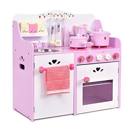 COSTWAY Cocinita de Juguete de Madera Cocina de Juego para Niña Infantil con Accesorio 60x29,5x62 Centímetros