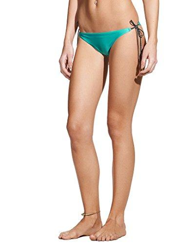 Vix Damen Solid Thai Full Bikini Hose mit langem Band - Türkis - Small