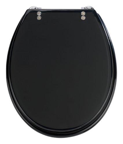Wenko 18924100 WC-Sitz Tropic Black - verstellbare, rostfreie Edelstahlbefestigung, Polyresin, schwarz