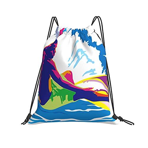 Brave Surfer - Mochila con cordón para deporte, gimnasio, senderismo, yoga, natación, viajes, playa, para mujeres y hombres, blanco, Talla única