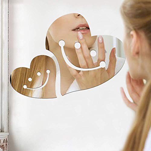 SITAKE 2er-Pack 3D-Acryl-Spiegel-Wandaufkleber, Silber, große und kleine Smiley-Herzform, DIY-Wandkunst, Dekorationen für Wohnzimmer, Schlafzimmer, Badezimmer