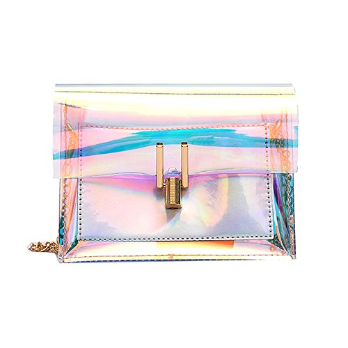 VECDY Damen Shopper Tasche Mode Frauen Laser Transparent Crossbody Taschen Messenger Strandtasche Brusttasche aus Leder Umhängetasche