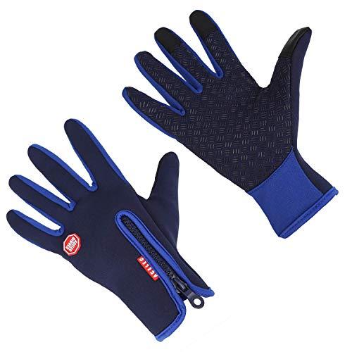 Guantes de Invierno a Prueba de Viento Térmica para Hombres Mujeres Ideal para Deporte Al Aire Libre Correr Ciclismo Senderismo Conducción Escalada Pantalla Táctil Guantes Multifuncionales (Azul, M)