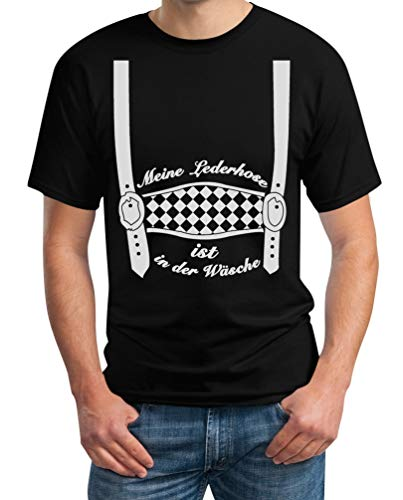 Oktoberfest Outfit - Meine Lederhose ist in der Wäsche - Trachten Herren Tshirt XX-Large Schwarz