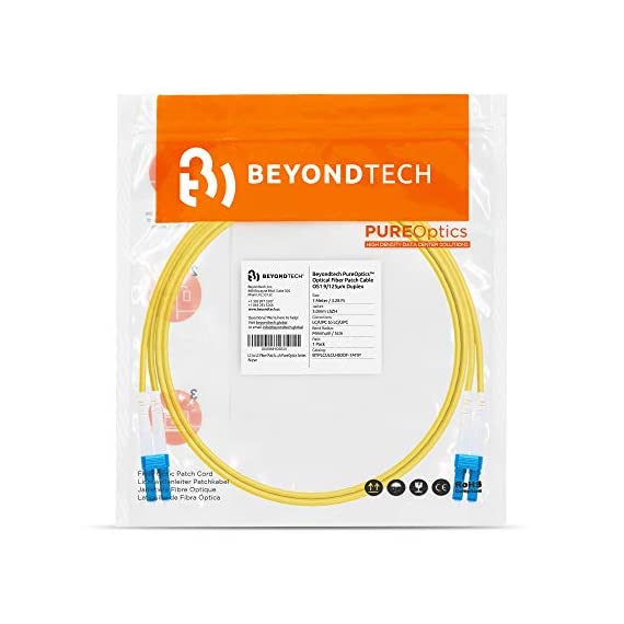 Single Mode Fibre Patch Cord - Duplex - UPC/UPC - 9/125um OS1 Multi-Packs / - Beyondtech PureOptics Cable Series 7 Beyondtech high-quality SC to SC Fiber Patch Cable Single mode 9/125 OS1 fiber is specially designed for fast Ethernet, Fiber Channel, Gigabit Ethernet Speeds, data center, premises, educational, LAN, SAN, commercial, 10GBASE-L (1310 nm), 10GBASE-E (1550 nm), 1000BASE-LX (1300 nm) and Asynchronous Transfer Mode (ATM) applications. It supports video, data and voice services. This fiber OS1 SC SC Fiber Patch Cord conforms with TIA/EIA 492AAAA and IEC60793-2-10 A1b standards and complies with RoHS specifications. This SM fiber has an yellow color jacket with a 3.00mm diameter. OS1 cables have a 0.25 dB/km attenuation at 1550 nm and 0.35 dB/km at 1310 nm.