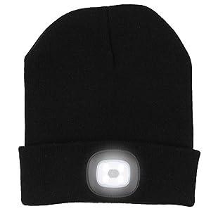 ANGTUO Sombrero Hecho Punto con luz, 4LED Faro Regulable Sombrero Desmontable Lavable Linterna Manos Libres para Correr… 8