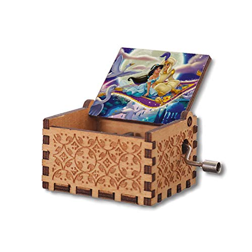 VINMEN You are My Sunshine Aladdin Music Box for Engraved Wooden Hand Crank Music Box Gifts