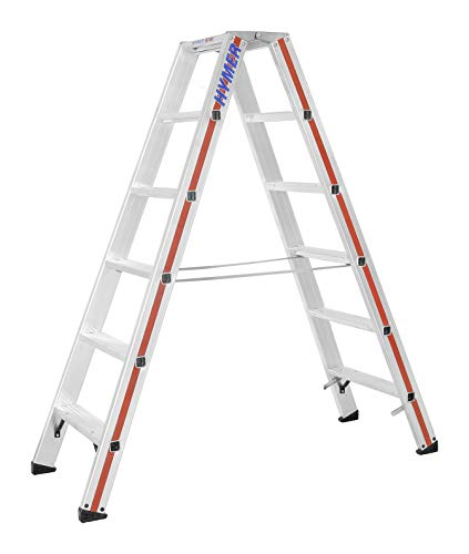 Hymer Stufenstehleiter 2x6 Sprossen (beidseitig begehbar, verstärkte Stufen, massive Gelenke, Spreizsicherung) 802412