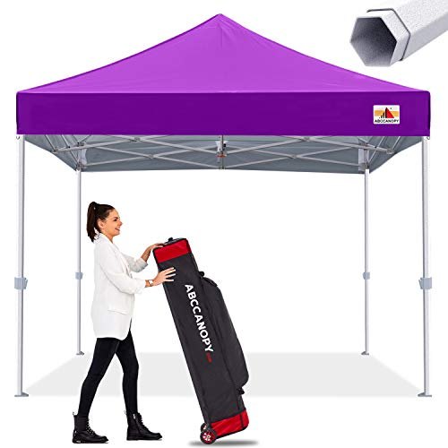 Premium Pop Up Canopy Tent 10x10 Commercial Instant Shelter, Bonus Wheeled Carry Bag and 4 Sand Bags, Purple