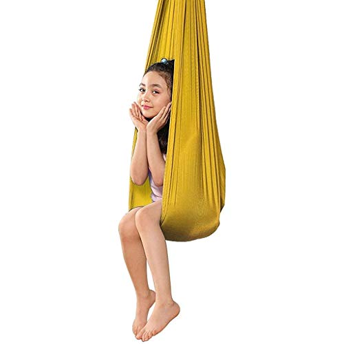 CWYP-MS Hamaca de Yoga aérea, Hamaca de Swing sensorial Ajustable con cojinete de Carga 200kg Swing de Yoga aérea Activa para Autismo ADHD Síndrome de Asperger (Hardware Incluido)
