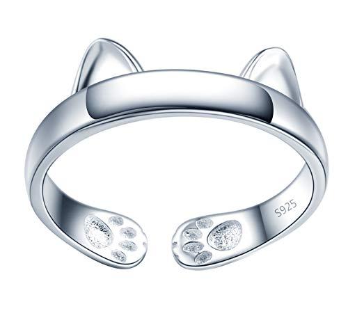 MicVivien Katze Ring Katzen ohr Damen Ringe 925 Sterling Silber süß Kätzchen öffnen Verstellbar Ring für Frauen Mädchen