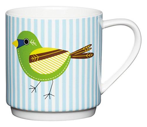 Kitchen Craft Mug en Porcelaine Anglaise empilables Rayures et Oiseaux, 340 ML – Blanc/Bleu