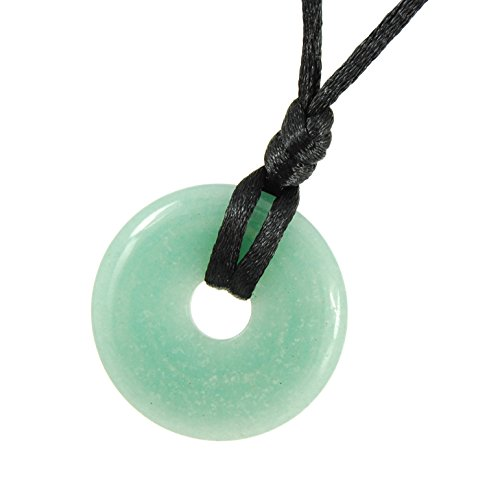Steampunkers USA Stone Wheelies Donut - 30mm Doughnut Ring Classic Green Aventurine - 20-22 Inch Adjustable Black Cord – Crystal Gemstone Collectibles Carved Necklace Handmade Charm