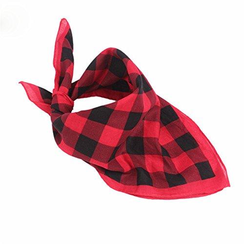 MultiKing hoofdbanden hoofddoek haaraccessoires haarbanden hoofdband accessoires katoen veelzijdig rood en zwart geruit vierkante sjaal multifunctioneel outdoor sport voortdurend wisselend hoofddoek rood