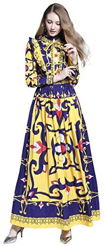 Women's Vintage Paisley/Baroque Print Maxi Dress Elegant A-line Long Dress