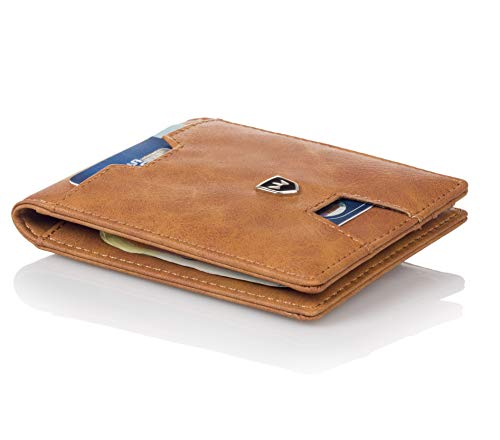 Kronenschein® Premium Herren Geldbörse mit Geldklammer Portemonnaie Männer Geldbeutel Slim Wallet Portmonee RFID Brieftasche Kreditkartenetui Kartenetui (Brown)