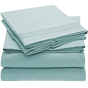 Mellanni Bed Sheet Set Brushed Microfiber 1800 Bedding - Deep Pocket, Wrinkle, Fade, Stain Resistant - Hypoallergenic