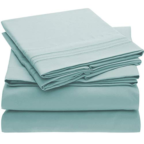 Mellanni Bed Sheet Set - Brushed Microfiber 1800 Bedding - Wrinkle, Fade, Stain Resistant - 4 P…