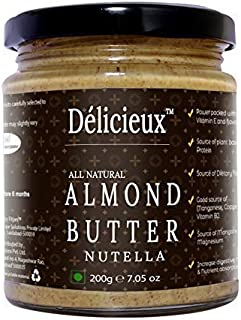 Délicieux Vegan Diet All Natural Stone Ground Almond Butter with Nutella-200 G