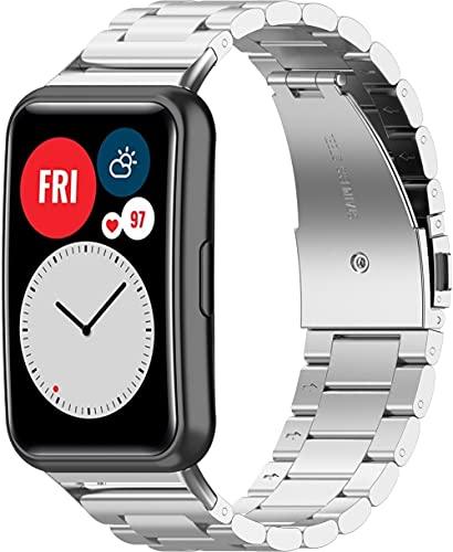Classicase Correa de Reloj de Acero Inoxidable Compatible con Huawei Watch Fit/Huawei Fit, Negocios Metalizados de reemplazo (Pattern 3)