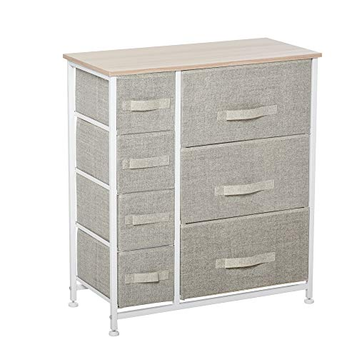 HOMCOM 7-Drawer Storage Cabinet Organizer Unit with Fabric Bins for Bedroom, Dresser, Closets, Grey