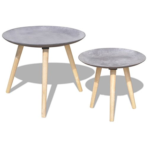 Weilandeal Bijzettafel/Tafelset 55 cm & 44 cm Beton Grijs Materiaal: MDF tafelblad + grenenhout poten ronde tafel ronde tafel