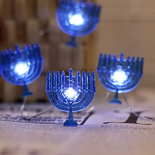 JASHIKA Hanukkah Menorah String Lights Chanukah Decoration 8.5 feet 24 LEDs Operated with USB Plug in and Remote Control for Festival of Lights