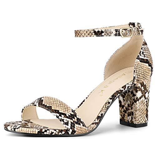 Allegra K Sandalias Correa del Tobillo Estampado De Serpiente Tacones Gruesos para Mujer