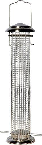 dobar Großer Futterspender für Vögel mit Gitterröhre, XL Futterstation-Futtersäule für Wildvögel zum Aufhängen, 9.5 x 9.5 x 39 cm, Metall, metallisch, 11523