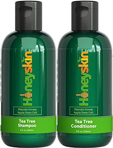 Tea Tree Shampoo and Conditioner Set - Dandruff Treatment With Organic Tea Tree Oil - Itchy Scalp Treatment for Women and Men - Sulfate and Paraben Free With Manuka Honey, Aloe Vera & Coconut (8oz)