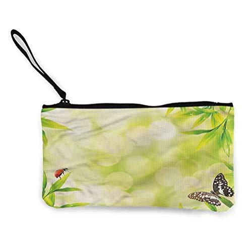 Plant Zipper Pouch Kleine kosmetische Make-up-Taschen, Aloe Vera Plantage im Wald- und Tierstil