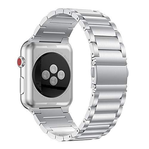 ANBEST Pulsera de Metal Compatible con Apple Watch 6/5/4/SE Correa 44mm, Correa de Acero Inoxidable Desmontaje Rápido Pulsera de Repuesto para Apple Watch 3/2/1 42mm, Plata