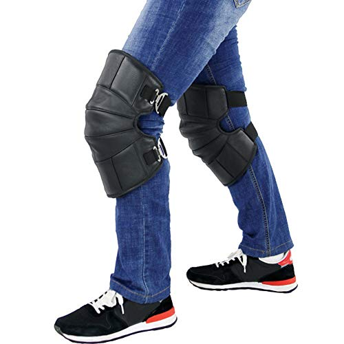 Fankr Motorfiets-kniebeschermer voor winter, leer, wol, warm, winddicht en waterdicht, verstelbaar, voor heren en dames, zwart