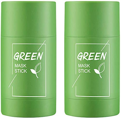 Green Tea Purifying Clay Stick Mask, The Green Tea Exfoliating Mask Removes Blackheads And Deep Cleansing Oil Control And Anti-Acne Solid And Fine, Suitable for All Skin Types (2PcsGreen tea)