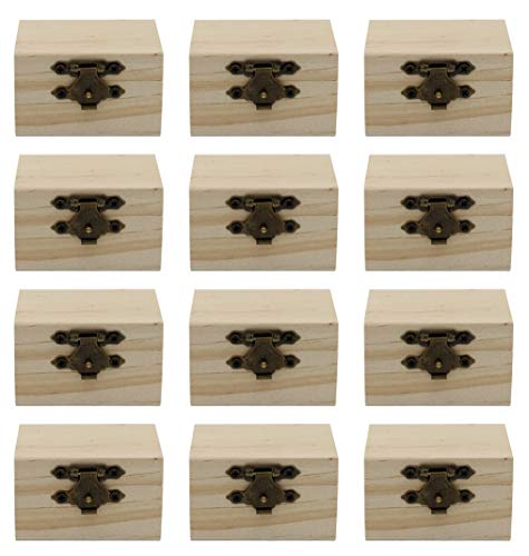 Creative Hobbies 12-Pack Mini Wooden Treasure Boxes with Locking Clasp - Unfinished Wood Treasure Chest for Party Favors, DIY Projects, Home Decor, Props, 2.3 x 1.5 x 1.5 Inches
