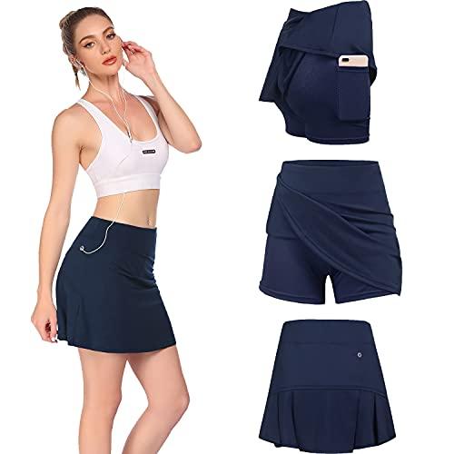 Damen Rock Kurz Tennisrock Yoga Skort mit Innenhose Taschen Sportrock Sportswear-Rock für Frauen Mädchen Golf Sport XXL