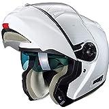Nexo Klapphelm Motorradhelm Helm Motorrad Mopedhelm Klapphelm Comfort Damen, komfortabler Vollvisierhelm für Damen, 1.550 g, kratzfestes Visier, Belüftung, Ratschenverschluss, Weiß, XS