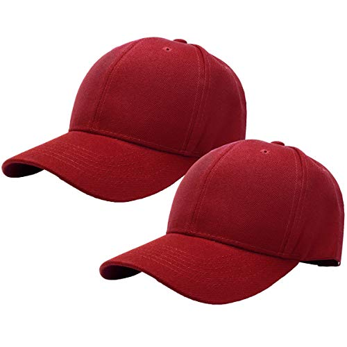 2pcs Baseball Cap for Men Women Adjustable Size Perfect for Outdoor Activities Burgundy/Burgundy