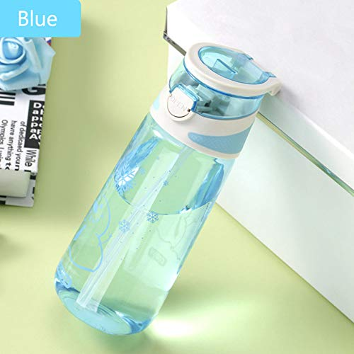 yylikehome Bouteille d'eau Portable en Plastique Anti-Fuite pour Le Sport, Le café, Le thé, Le Lait, Le Camping, la randonnée, Les étudiants et Les Adultes 450 ML, Bleu