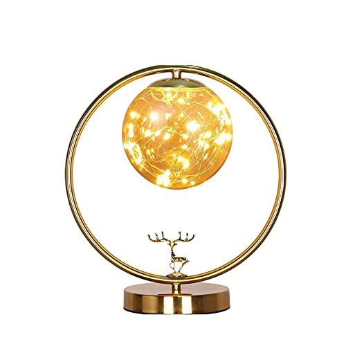 Lámpara de Mesa 13.3 pulgadas Alta lámpara de mesa de oro vintage con luz de cristal Luz caliente, lámpara para sala de estar de dormitorio, oficina Lámpara de Cabecera