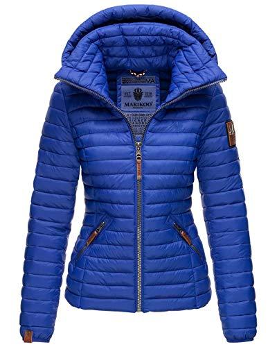 Marikoo Damen Jacke Steppjacke Übergangsjacke gesteppt B839 [B839-Löwe-Blau-Gr.M]